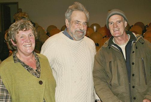 Betsy Konick, Camphill, with Alan Ereira and John Hart at the Irish premiere of Aluna at Ionad an Bhlascaoid last Friday.