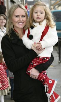 Meeting Santa at Bright Beginnings Pre-School were Marie and Jessica O'Sullivan from Scartaglin.