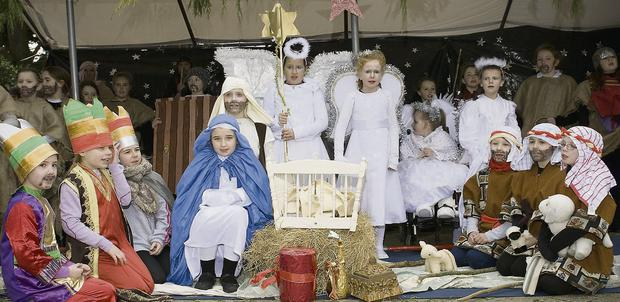 Students from Listowel Convent primary taking part in a nativity play.
