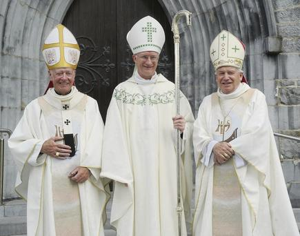 Most Rev. Dermot Clifford Archbishop of Cashel and Emly, Bishop Ray Browne of Kerry and Bishop Bill Murphy at the Episcopal Ordination of Ray Browne as Bishop of Kerry at St. Mary's Cathedral, Killarney.