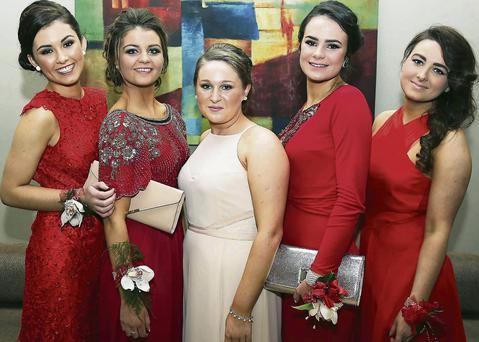 Debutantes putting on the style at the Mounthawk debs dinner dance at Ballyroe Heights Hotel on Saturday night. From left: Marian Teahan, Aisling McCarthy, Becca O'Halloran, Mary Doody, and Aisling Ringland, Tralee. Photos by John Cleary