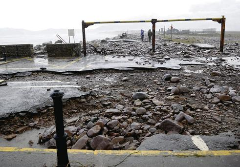 Serious storm damage to the roadway at Rossbeigh Beach on Friday.