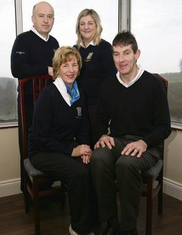Castleisland Golf Club's newly-installed officers: Presidents Ann Stuart and Maurice O'Connor (seated) with captains John O'Connell and Margaret Moloney.