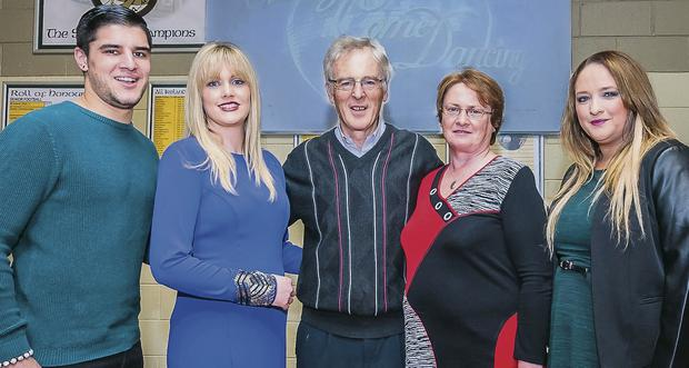Austin Stacks held a Strictly Come Dancing cheque presentation and thank you party at the clubhouse in Connolly Park on Friday. Pictured here are the winner Wayne Guthrie, Cllr Toiréasa Ferris, who accepted a cheque on behalf of Tara's Tiny Footprints, Aidan O'Connor, Elma Walsh of the Donal Walsh Foundation, and Jackie O'Mahon, dance trainer. Photo: Paul Tearle
