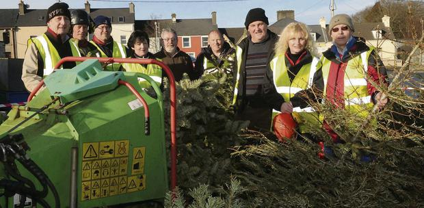Members of the Killorglin Tidy Towns Group Brendan Foley, David Doona of High Tower, John Healy, Orna Eccles, John, Willie Bateman, Donie O'Sullivan, Linda Doona of High Tower and Stephen Thompson recycling Christmas trees in the Fair Field, Killorglin on Saturday.