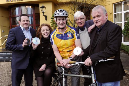 Tom O'Leary, Tralee, Niamh Blanche, National Digital Skills Centre, Tralee, Cllr Cathal Walshe, Tim O'Brien, Chairman Ring of Kerry Charity Cycle, and Paul Dolan, National Digital Skills Centre, Tralee, at the launching the Documentary on the Ring of Kerry.