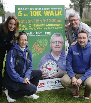 Paudie O'Mahoney of Operation Transformation (back right) with Linda O'Shea, Cora Carrig and Eoin Murphy of the Kerry Recreation Sports Partnership launching the 5k or 10k Walk this Saturday 18th at 12.30pm starting at the Mogr.O'Flaherty Monument, Mission Road, Killarney. (Photo by Michelle Cooper Galvin)