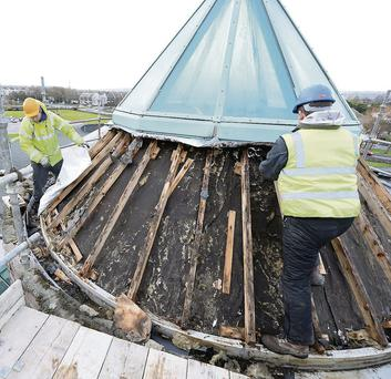 Aqua Dome likely to be closed for several weeks following storm damage. Severe storm force winds removed several slates from the roof of the building and there was damage to the conical glass dome on the facility, which has created a health and safety problem.