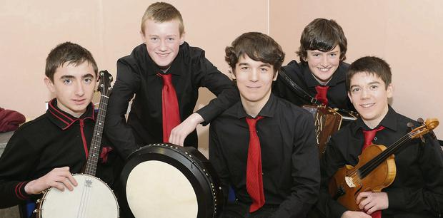 Fossa Instrmental group Sean Kelliher, John Murphy, Christy Buckley, Dean O'Sullivan and Cian O'Sullivan who won the Munster Scor semi-final in Millstreet. The group qualifed for the Munster Scor final in Mallow Youth Centre on January 26.