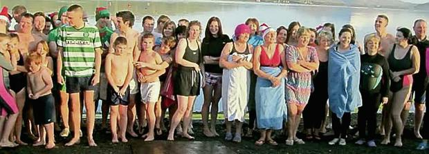 The swimmers at Cnuicin Pier,who completed this year's Christmas Day swim.