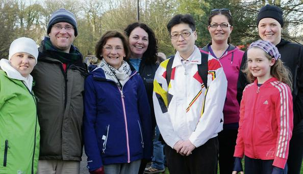 Therese McCarthy, Seamus O'Shea, Joan Prendiville, Patricia Quane, Ken Inushima, Moira and Fiona Dineen and Siobhan Griffin of Astellas Killorglin partricipating in the Operation Transformation 5k and 10k Walk.