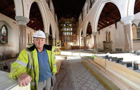 Site foreman Con Flaherty inside the church.
