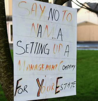 """Say no to NAMA setting up a management company for your estate"" - this poster was pictured inside Fairway Heights estate in Tralee."
