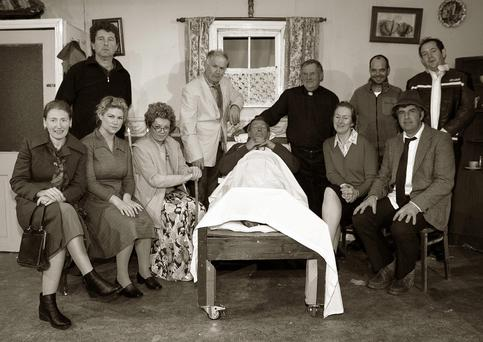 Sliabh Luachra Drama Group members pictured during a dress rehearsal for their production 'Wake in The West' on Sunday afternoon. Included are, front; Catriona Hickey, Geraldine O'Driscoll, Moira O'Connor, Thade Hickey, Nora Walsh and Seán McGuire, director. Back: John Walsh, Tim Dineen, Dermot O'Leary, Vincent Salmon and Danny O'Leary.