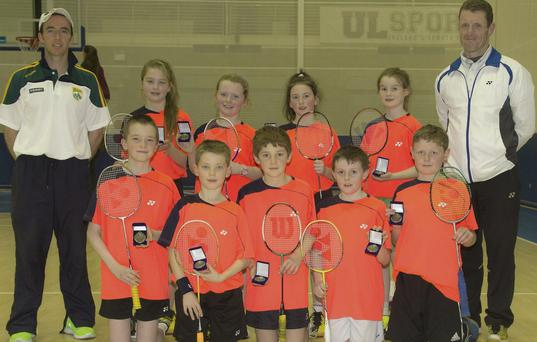 The Under-11 Kerry team that took gold at the Inter-county U-11 Badminton competition at UL last Sunday. Front, from left: Seamus Bradley, Peter Burke, Aidan O'Connor, Cathal O'Donovan and Patrick Roache. Back, from left: Billy Lacey, Coach, Katlyn Reid, Adele O'Brien, Laura O'Connor, Katie Keane and John O'Brien, manager.
