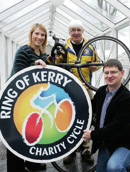 Launching the Ring of Kerry Charity Cycle 2014 were Karena McCarthy, Secretary; Tim O'Brien, Chairman and John Rice, Ring of Kerry Charity Cycle Management Team at The Malton, Killarney on Saturday.