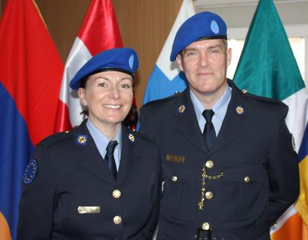 Det Garda Deirdre Murphy from Ballinskelligs and Det Garda Brian O'Farrell from Caherdaniel in Kosovo.