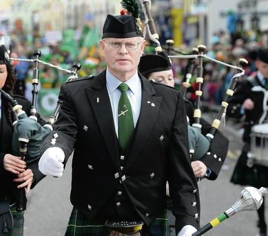 Christy Switzer Drum Major from St John's Pipe band Tralee.