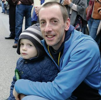 Brendan and Tomas Lynch at the St Patrick's Day Parade in Milltown on Monday.