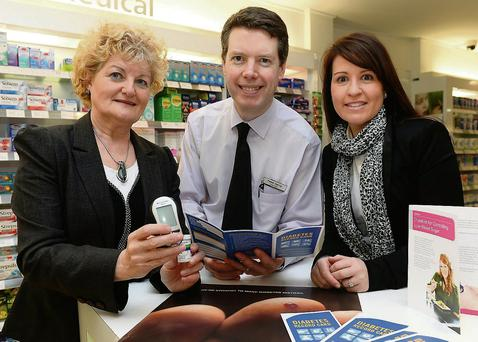Peter Harty with Pauleen Lynch and Lorraine Carr from Diabetes Ireland at the diabetes awareness day at CH Chemists, Tralee.