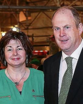 Mary Ferriter of The Dingle Distillery, with the Mayor of Kerry Cllr Seamus Cosaí Fitzgerald at the St Patrick's Day Mass in St Patrick's Cathedral, New York.
