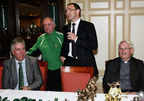 Republic of Ireland Soccer team manager, Martin O'Neill speaking at the River Island Hotel on Friday, with FAI Chief Executive Officer, John Delaney, Georgie O'Callaghan of the host club nd Monsignor Dan O'Riordan PP Castleisland.