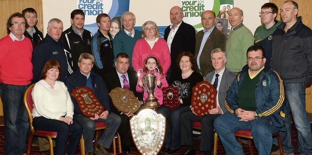 At the launch of the Chapter 23 League of Credit Unions sponsored County Football and Hurling League at Kerins O'Rahillys in Tralee on Monday were, seated from left, Mary Joe Murphy, Dermot Lynch, Pat Sullivan, Abbie Canty, Catherine Coffey, John O'Leary and Tom Kennedy. Back, from left, Brian Sugrue, Tommy Cronin, Ger McCarthy, John Joe Canty, John Fitzgerald, Christy Killeen, Kathy Griffin, Jack Harrington, Peter Twiss, Fergal Griffin and Andrew Roche. Photo by Michelle Cooper Galvin