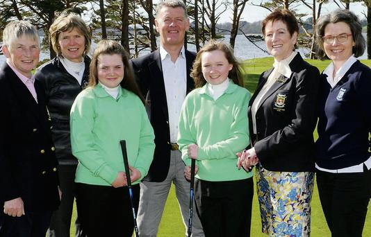 Maureen Culloty Lady Captain Killarney Golf Club (right) who made special presenations to Mairead Martin and Valerie Clancy who who are off to join the Irish U-16 GIRLS TEAM for The Scottish Open Stroke Play Championship to be played at the Stratmore Golf Centre in Pertshire, Scotland, from the 10th to 14th April with (from left) Mary Geaney Club President, Mary Junior Officer, Mike Daly Captain and Angela O'Connor Junior Officer at Killarney Golf Club on Sunday. Photo by Michelle Cooper Galvin.