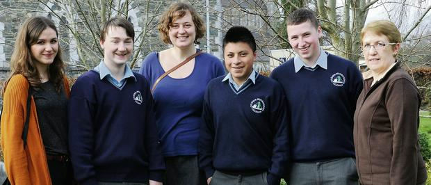The Deutschmobil Co-Ordinator Miriam Hornauer (back left) with 5th Year pupils from St Brendan's College Ryan O'Keeffe, Connor Leahy, Shane Collier, Sophie Muller Deutschmobil and teacher Susan Follin at St Brendan's College, Killarney