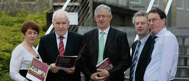 At the Cantillon 2014 seminar on 'How Business People Use and Develop their Networks' held in the Solas Drumtacker Tralee were Breda O'Dwyer IT Tralee , Minister Jimmy Deenihan, Antoin Murphy of Trinity College Dublin, Eamonn O'Reilly Tralee and Dr Colm O'Doherty IT Tralee.