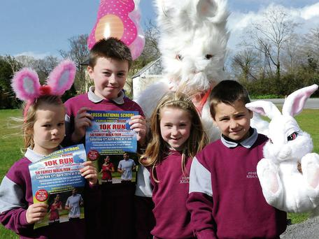 Fossa National School pupils launching the Fossa NS 10K Walk, which will be held on April 12 .