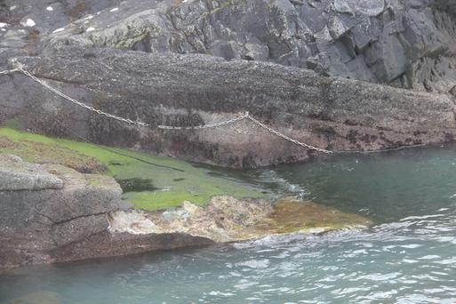 The storm-damaged slipway on the Great Blasket.