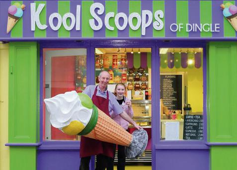 John O'Connor with his daughter Ciara at the door of 'Kool Scoops' on Dingle's Strand Street.