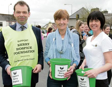 Branch Chairman, Jack Shanahan with members, Catherine Horan and Liz Galwey at the start of the annual Good Friday Morning Hospice Walk in Castleisland.