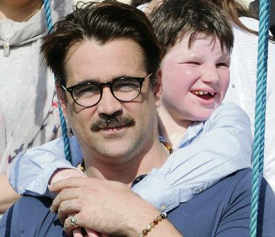 Diarmaid de Bhillis hanging out with Colin Farrell during Colin's visit to Home From Home.