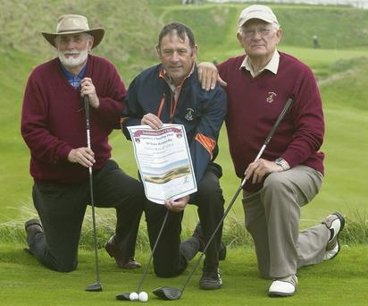 Captain of Ballybunion Golf Club Sean Kennelly with John Fox president and Dominic Lynch vice president launching the Captain's Charity Day to held on Sunday the 4th of May.