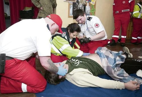 Member's of the Red Cross being put through their paces as part of the National Red Cross First Aid competition around Tralee. Photo by Eye Focus