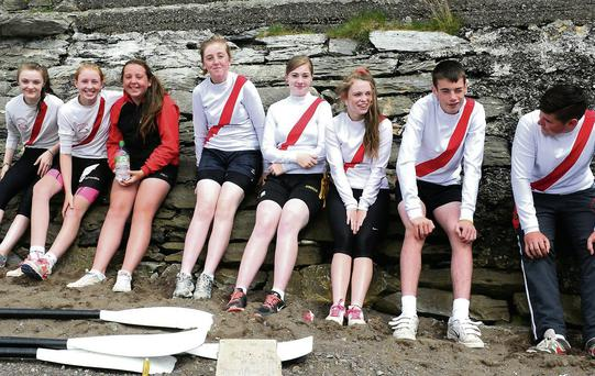 Workmen's Rowing Club members Ciara Browne, Annie O'Donoghue, Aisling Doyle, Lauren McCarthy, Kayla McCarthy, Roisin Doherty, Ryan O'Neill and John Greene at the Kenmare Regatta on Sunday.