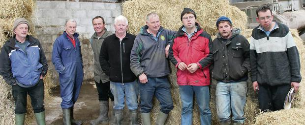 Lixnaw farmers, with IFA Kerry representative James McCarthy, awaiting a fodder delivery during the crisis of last year that imposed a huge cost burden on farmers.