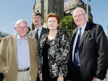 Professor John A Murphy, Professor Maurice Bric, Mary O'Connor Organising Committee and Mr Michael McDowell SC at the DOCAL The O'Connell Heritage Summer School at the Library, Cahersiveen last year.