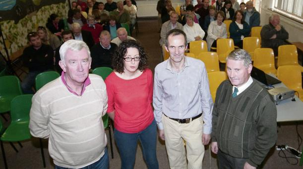 Gerard Doyle, Catherine Kelly, Aidan Linnane and Tony Carroll, members of the protest group at the public meeting at Dromclough National school.