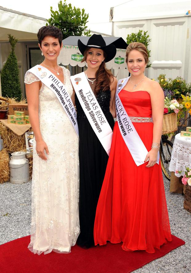 Philadelphia Rose Maria Walsh, Texas Rose Cindy Crowell and Kentucky Rose Claire Curran at the Kerrygold International Rose Ball at the Rose of Tralee Festival Dome on Friday night. Picture: Eye Focus