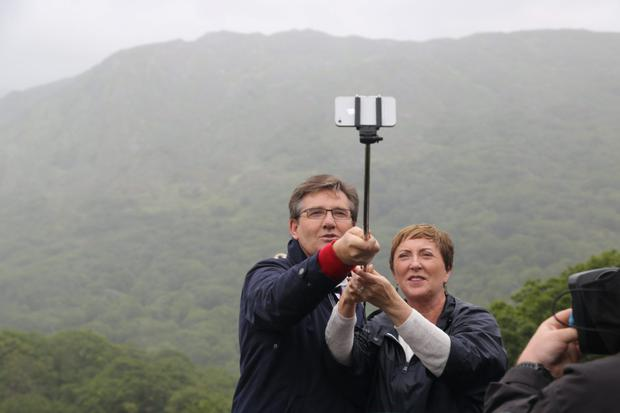 Daniel and Majella O'Donnell taking a selfie in Killarney National Park during filming for Daniel and Majella's B&B Road Trip