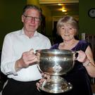 John Leahy Ballyduff and Eileen Moran Ballymacelligott with the Tom Markham All Ireland Minor Cup at the Dollis Hill Charity Dance in aid of St Joseph's Home Killorglin at St Mary's and St Andrew's Social Club, Dollis Hill.