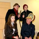 Pat Harnett, Jeremiah Roche, Niamh Healy and Dick Woulfe in rehearsals for their upcoming production of John B's Sive in Abbeyfeale