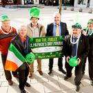 Launching the St Patrick's Day parade in Tralee Square on Thursday were (left to right): Danny Leane, Michael Gaffneym, Johnny Wall, Frank Hartnett, Sean Lyons and John Drummy