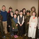 Pupils from the Mercy National School in Moyderwell, Tralee lined out at the unveiling ceremony in 1916 period costume