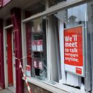 The scene at the EBS offices on Russell Street in Tralee last Wednesday, after a car left the road and crashed into the front wall of the building society premises