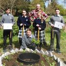 Students with the new 'Keyhole' Compost Garden in the Tralee Community Garden and Orchard Project at Tralee Town Park