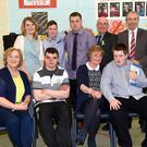 Gerald O'Sullivan, James O'Shea, Mark Coffey and Owen O'Connor at their Graduation from St Francis' Special School, Beaufort, with their teachers Brenda Flaherty, Kathleen Cronin (back left), Breda Counihan, Bro Finnan Gallagher Provincial Secretary and Board Chairman and Principal Liam Twomey on Wednesday